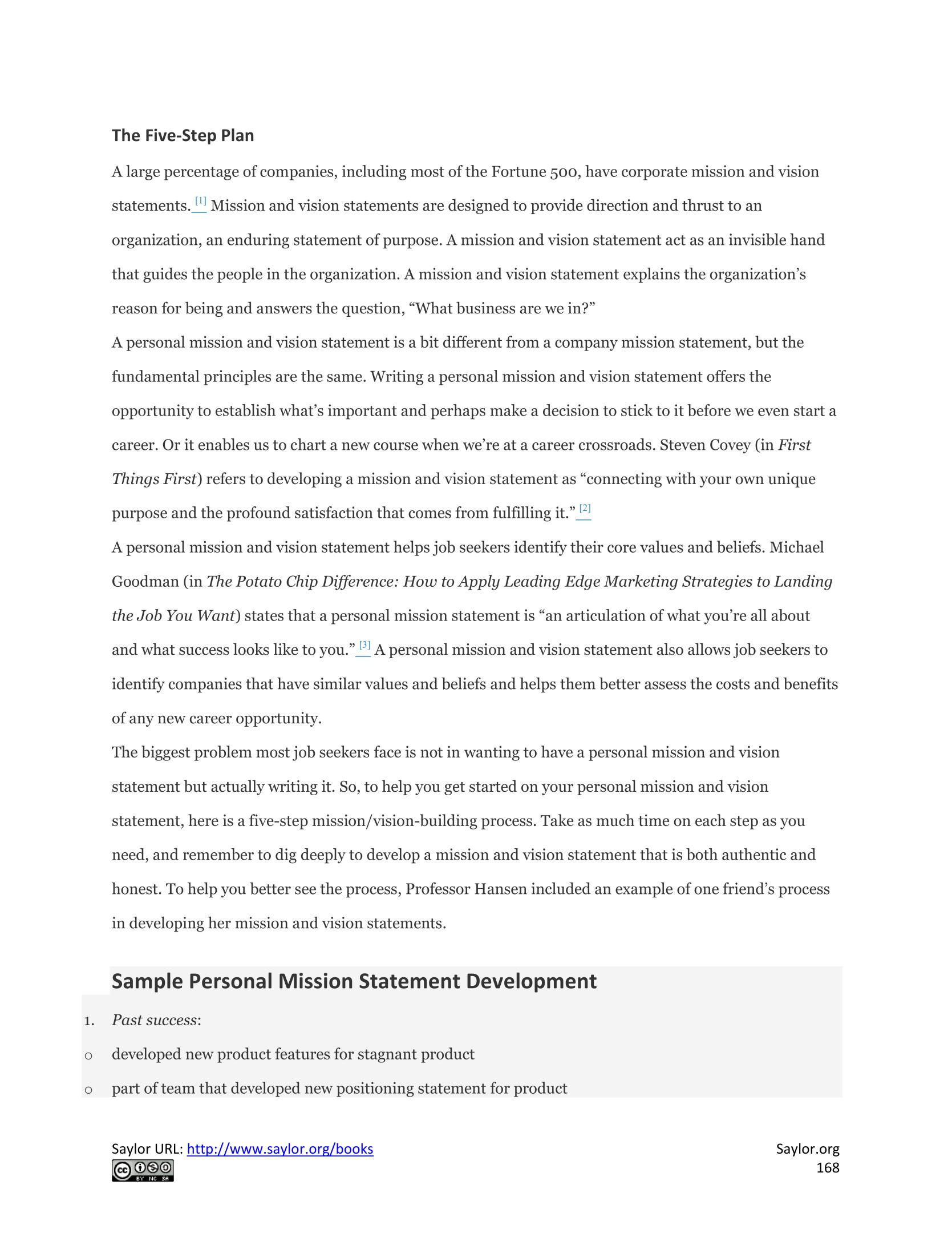 developing a personal mission statement